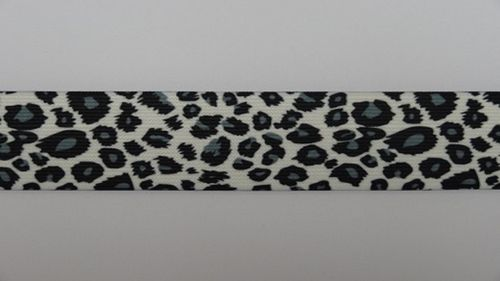 Waist elastic wide leopard print black and white