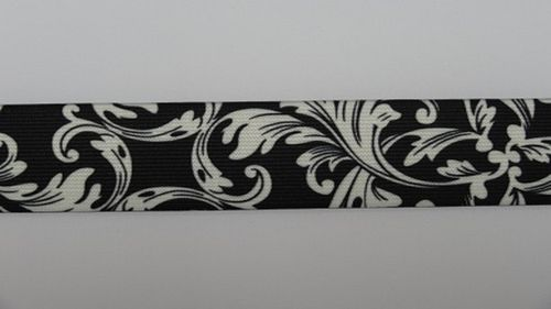 Waist elastic wide plant print black and white
