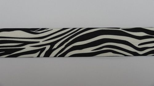 Waist elastic wide zebra print black and white
