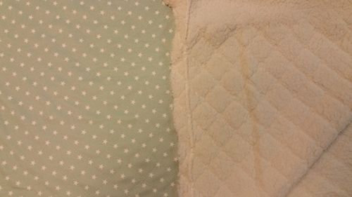 Quilted teddy mint green with star