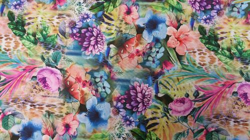 Digital mesh dahlias blue with purple