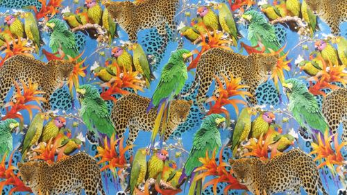 Digitale print Jungle Parrots