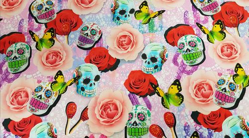 Digitale print Skulls & Flowers 269