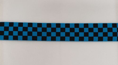 Waist elastic wide 58 Checkered Turquoise / Black
