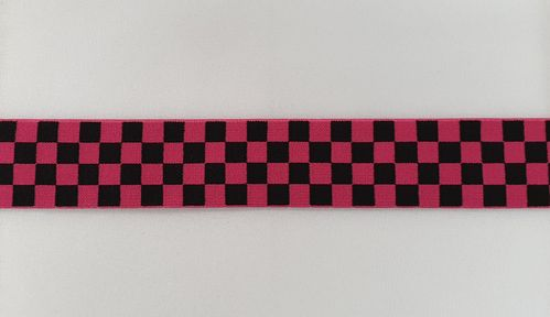 Taille elastiek breed 52 geblokt Hard roze zwart