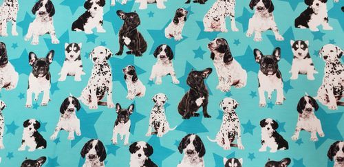 Digitale print Puppies Green Stars
