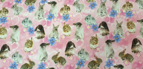 Digitale prints Rabbit pink 338